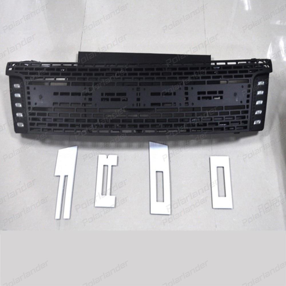 גריל גריל מירוץ LED ריינג 'ר עבור פורד ריינג' ר grilleABS איסוף 2012-2015 שחור שפתוחה גריל trim
