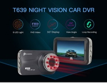 T639 Car DVR FHD 1080P 3 Inch Dash cam Car Camera Night Vision With 9 IR Light Night Vision G-Sensor 170 Degree car  recorder