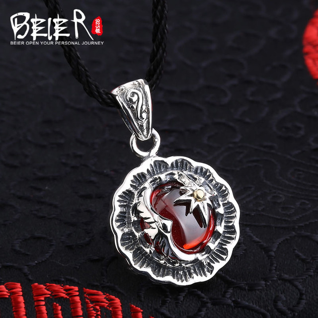 Beier new store 100% 925 thai silver sterling high quality pendant necklace Zircon fashion jewelry men/women A2486