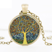 2017 Fashion Retro Vintage Women Girl Lady Tree of Life Bronze Glass Cabochon Pendant Necklace Chain Jewelry Accessories HZ1