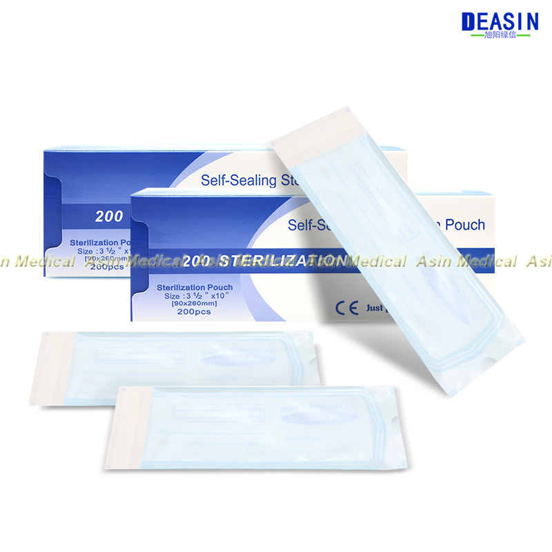 90 * 165mm DENTAL SELF SEAL STERILIZATION POUCHES medical bag sterilization bags no need sealing machine 200 / box
