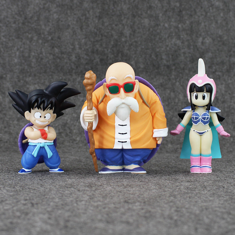3pcs/lot Goku/Master Roshi/Chichi Toy Anime Dragon Ball Z Action Figure PVC Cute Figures Model Toys Office Decoration 13cm майка классическая printio пёс единорог