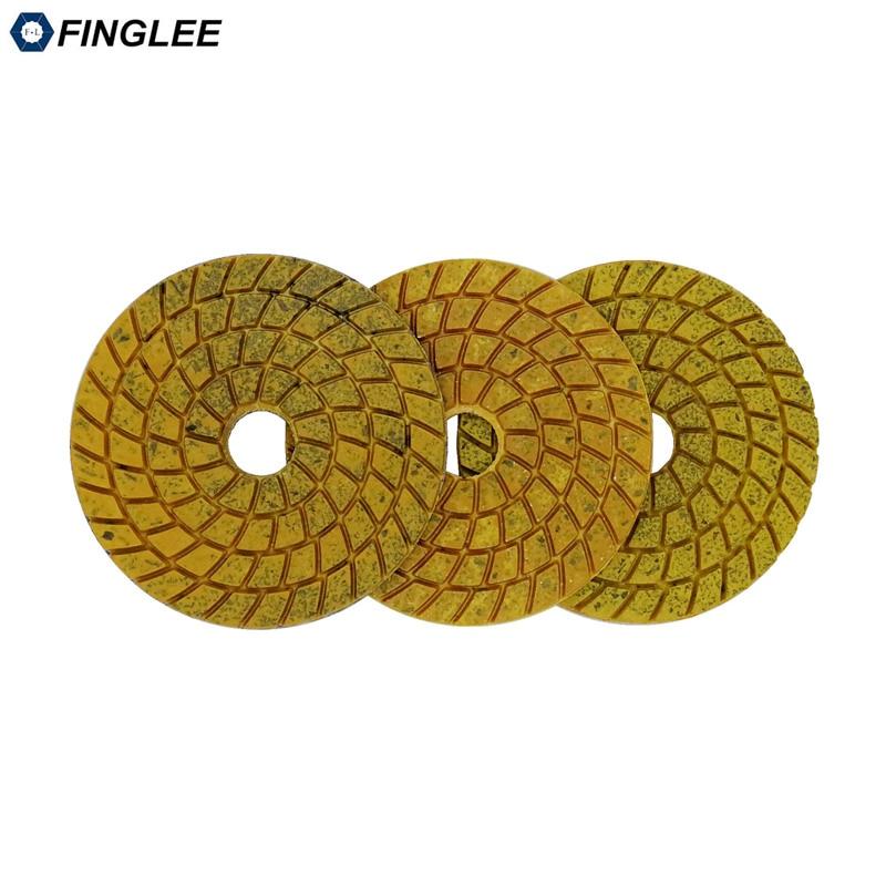 FINGLEE 3pcs/lot 100mm Super Aggressive Diam polishing pads copper bond marble granite grinding terrazzo fast grinding