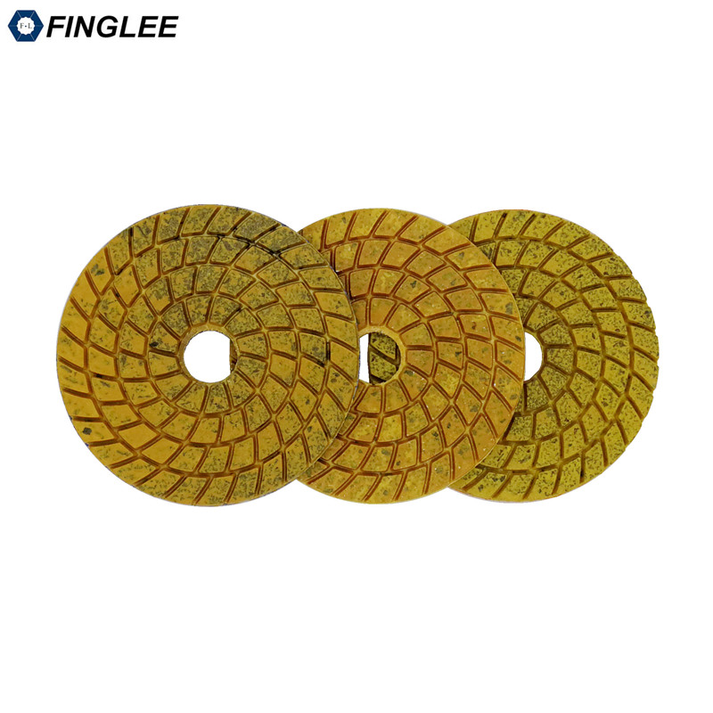 FINGLEE 3pcs/lot 100mm Super Aggressive Diam polishing pads copper bond marble granite grinding terrazzo fast grinding