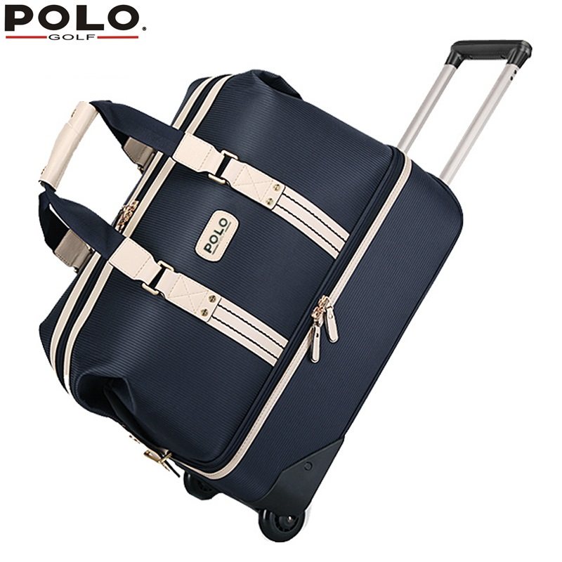 Authentic POLO Double Clothing and Shoes Bags High Capacity Trolley Travel Bags with Wheels Golf Apparel Package Bolsas Zapato famous brand polo golf travel wheels standard stand caddy bag complete golf set bag nylon golf cart bag staff cart golf bags