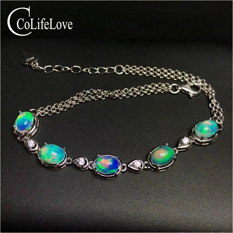 100% natural fire opal bracelet for party 5 pcs Australia opal silver bracelet 925 silver opal jewelry birthday for wife декор cifre ceramica opal decor opal grey 7 5x30