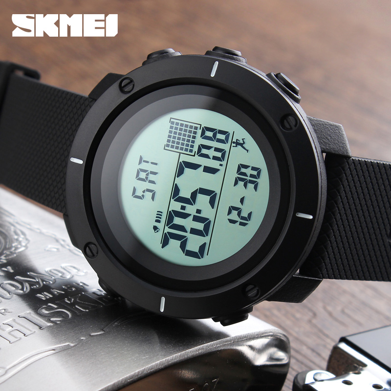 Pedometer Sport Watch Men SKMEI Brand 50m Waterproof LED Digital Chrono Calories Alarm Outdoor Military Wristwatches skmei men sports health watches 3d pedometer heart rate monitor calories counter 50m waterproof digital led mens wristwatches