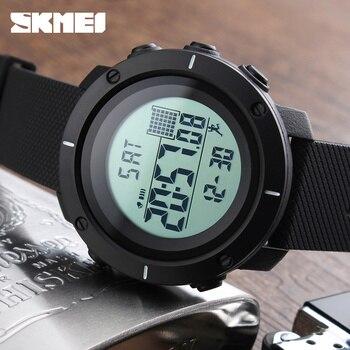 Pedometer sport watch men skmei thương hiệu 50 m waterproof led kỹ thuật số chrono calories báo động ngoài trời quân đồng hồ đeo tay