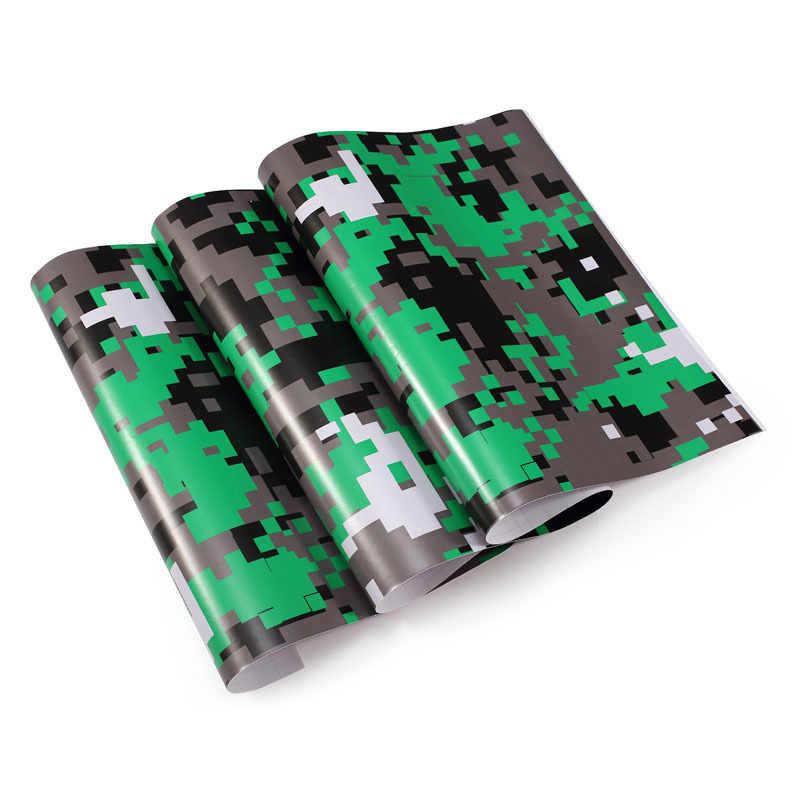 50cm Genişlik Kamuflaj Vinil PVC Araba Sticker Wrap Film Dijital Ormanlık Ordu Askeri Yeşil Camo Çöl Çıkartması Otomatik motosiklet