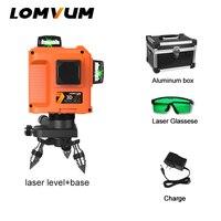LOMVUM 12 линий 3D лазерный уровень самонивелирующийся 360 горизонтальный с базовой линией выравнивания зеленая красная линия Indooroutdoor лазерный у...