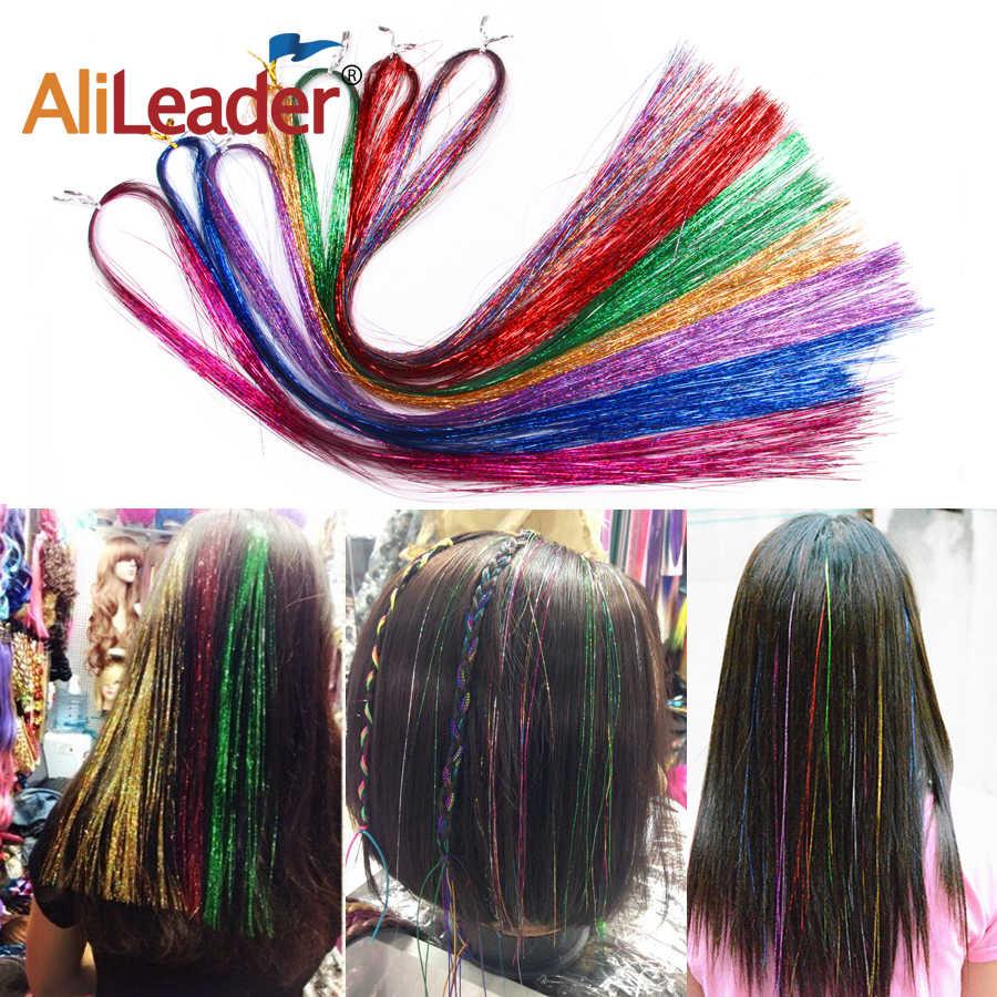 Alileader 16 дюймов Блестящий синтетический зажим в одной части Блестки для волос полоса золотой зеленый розовый цвет для девочек и вечерние