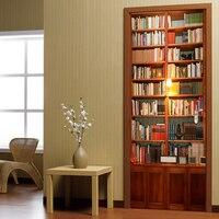 2 Pcs Set Wall Stickers DIY Mural Bedroom Home Decor Poster PVC Retro Book Cabinet Waterproof