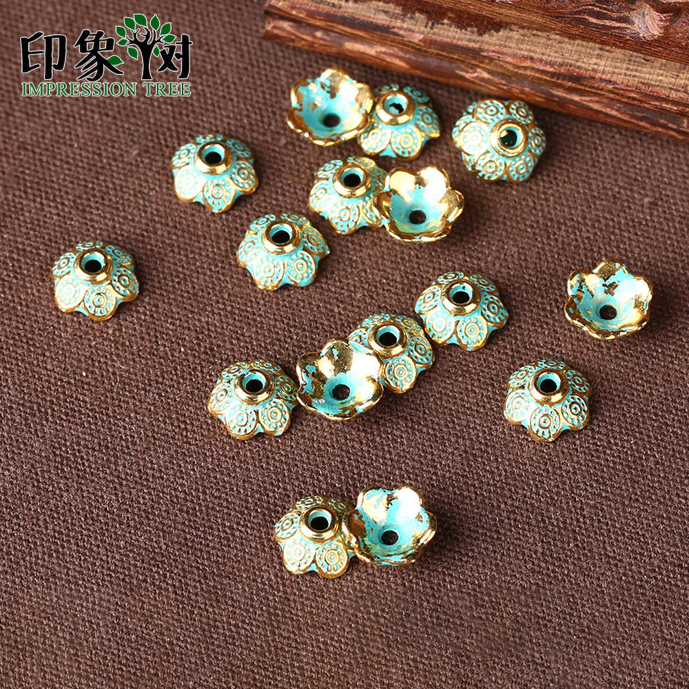 20pcs 9mm Zinc Alloy Green Flower Spacer End Beads Caps Charms For Jewelry Making Bracelet