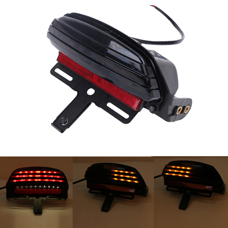 ФОТО Motor Tri-Bar Fender Smoke LED Turn Signal Stop Light License Plate Hold For Harley Softail FXST FXSTB FXSTC FXSTS FLSTSB #58187