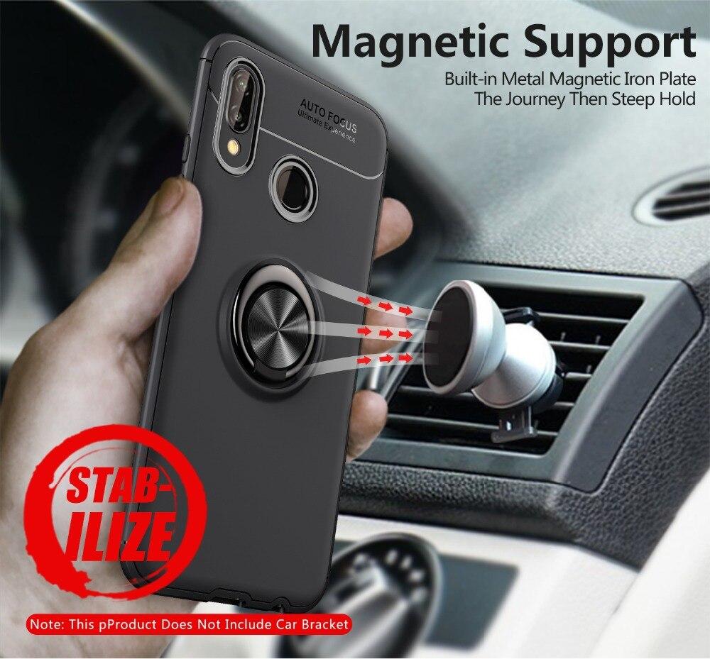 P20 случае автомобильный держатель Магнитный чехол для huawei P20 lite P20 чехол 360 Вращающийся палец кольцо телефон чехол для huawei p20 Pro Капа