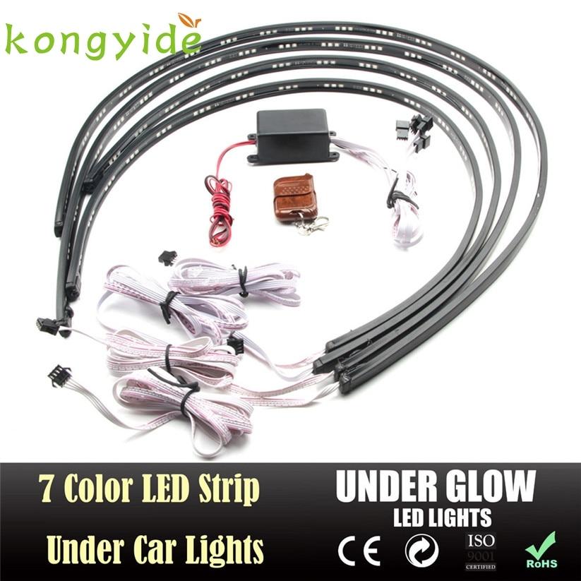 Автомобиль-стайлинг 7 Цвет LED полоса под автомобиля трубка underglow днища система неоновые огни комплект тд8 челнока