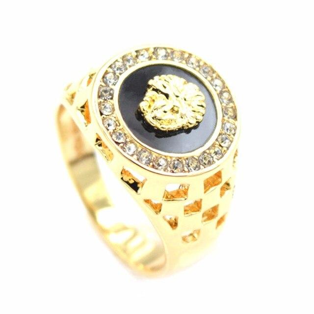 2017 new arrival mens ring fashion hip pop medusa gold silver