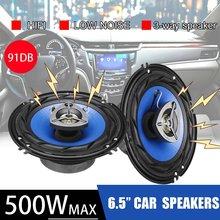 2 pçs 6.5 Polegada 500w 3 vias carro coaxial alto-falante e subwoofers porta do veículo auto áudio música estéreo alto-falante chifre alto falantes de alta fidelidade