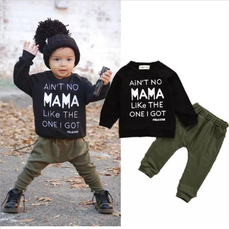 New 2017 baby boy clothes cotton cartoon long sleeved black t-shirt+pants infant clothes 2pcs suit baby girl clothing sets