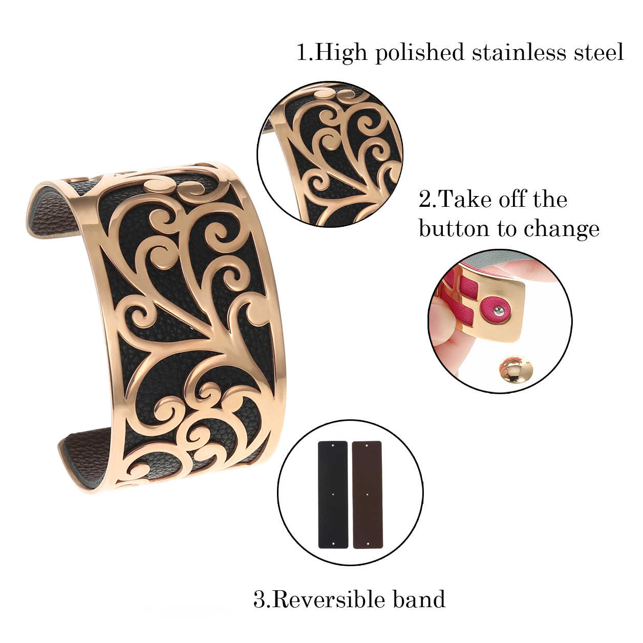 Brazaletes y pulseras para mujer pulsera de acero inoxidable brazalete de Manchette Argent correa de cuero intercambiable para Navidad