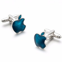 VAGULA High Quality Funny Cuff links Silver Plated Bule Painting Apple Cufflinks Classical Cufflings 697