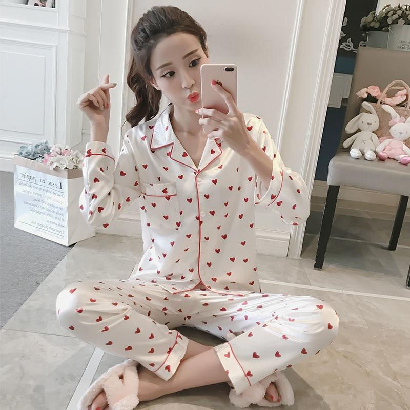 Wholesale WAVMIT 2018 Women Comfortable Silk Pajama Set Girl Print Pyjama Set Long Sleeve Sleepwear Suit Women Nightshirt Sets