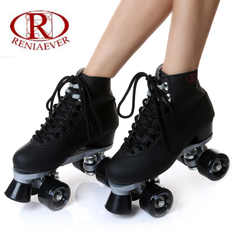 roller skate classic black double row skating shoes pulley shoes 4 wheel shoes outdoor indoor riding asphalt road roller skate кенгуру picture organic basement skate black