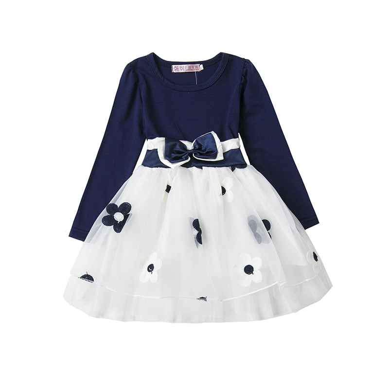 2018 New Winter Girls Clothes Long Sleeve Pirncess Dress Kids Wedding Party Dresses For 0-2 Years Flowers Prints Baby Clothing