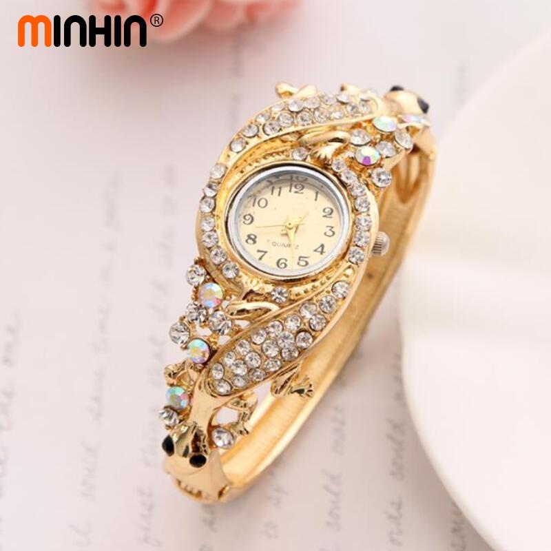 minhin luxury rhinestone watch jewelry women dress accessory gold austrian crystal quartz On watches jewelry