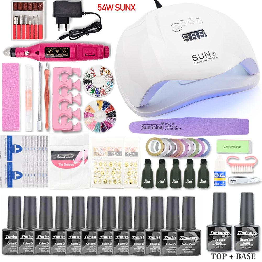 Uñas UV lámpara LED secador con 10 piezas de uñas de Gel polaco Kit de remojo manicura herramientas de uñas de Gel kit de esmalte para uñas de arte