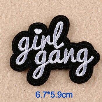 Nowość tanie dziewczyna Gang litery słowa haft Punk ubrania łatka na odzież spódnice dżinsy żelazko na łacie aplikacja