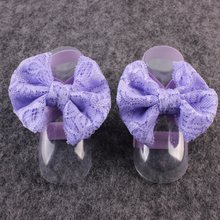 Newborn Baby Toddler Girls Elestic Band Barefoot Sandals Blooms Foot Bowknot(China)