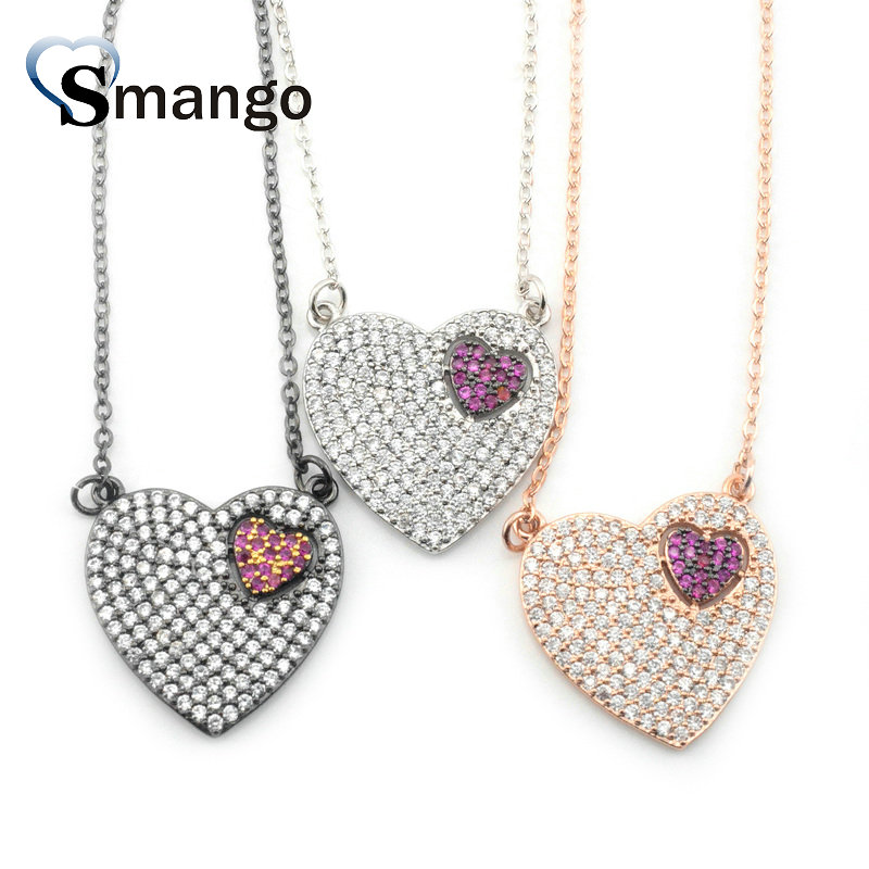 5Pieces The Rainbow Series Women Fashion The Double Heart Shape Necklace and Pendant 3 Colors Can Wholesale in Chain Necklaces from Jewelry Accessories