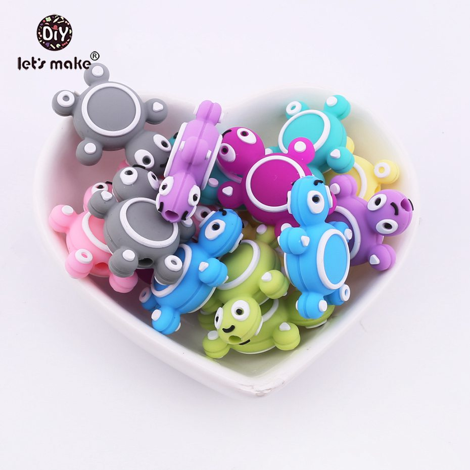 Let's Make 50pc Baby Teether Mini Animal Perle Silicone Turtle Beads DIY Starter Kits Children Training Baby Products Nurse Gift