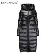 Пуховик женский куртка с капюшоном белая утка вниз Ветрозащитный блестящий толстая теплая зимний куртка большого размера снежная шуба холодостойкое пальто пальто с поясом пальто на молнии черный длинный пуховик