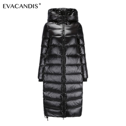 пуховик женский куртка с капюшоном белая утка вниз Ветрозащитный блестящий толстая теплая зимний куртка большого размера снежная шуба хол...