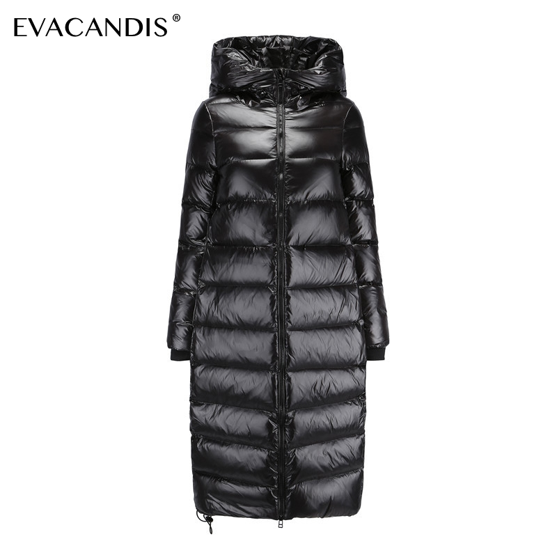 Long Black Down Coat Women Thick Hooded Winter Zipper Plus Size Windproof Snow Outwear 90% White Duck Down Warm Jacket Overcoat