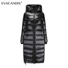 Long Black Down Coat Women Thick Hooded Winter Zipper Plus S
