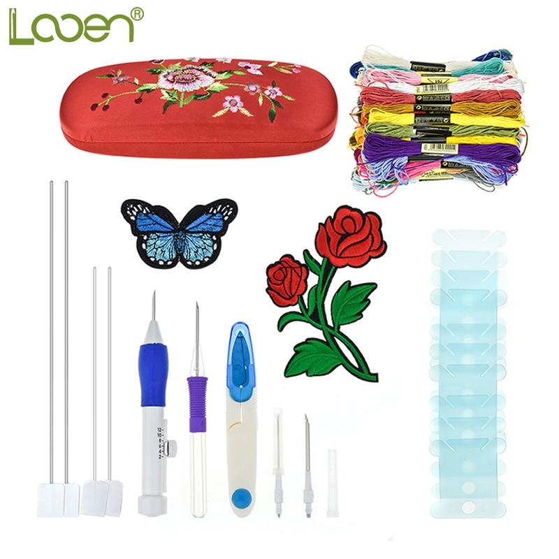 Looen bordado mágico pluma agujas aguja conjunto tijeras hilo flor ...