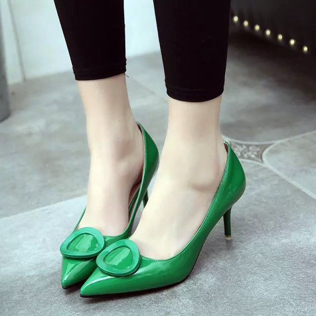 New 2016 Women's High Heels shoes spring summer Women Pumps Sexy shoes Bride Party lady Thin Heel Pointed Toe shoes leather OL