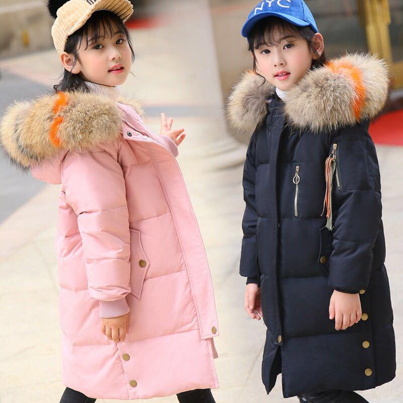 Princess Winter Coat for Girls Large Fur Collar Kids Down Jackets age 6 8 10 12 14 years Children Outwear Girls Parkas TZ379 стоимость