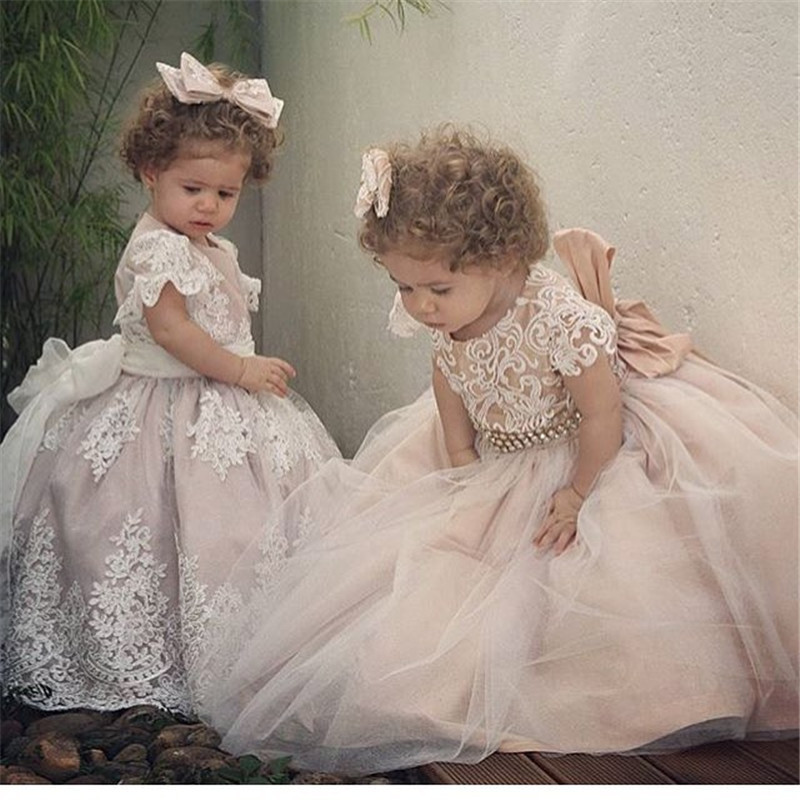 White Ivory Flower Girl Dresses Ball Gown Tulle Lace Short Sleeve Girls Pageant Dress Fascinating Vestido De Daminha