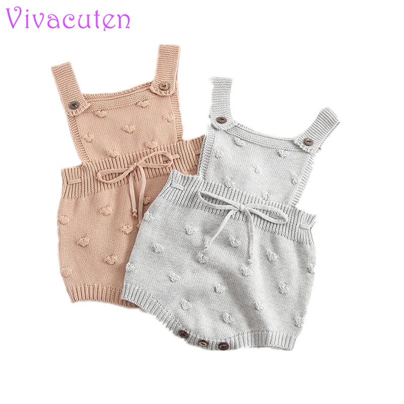 Baby Girls Knitting Romper Newborn Baby Girl Clothes Fashion Knitted Baby Romper Overalls Autumn Bubble Sweater Boys Sleeveless auro mesa blue baby knitting romper 100