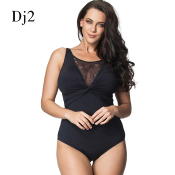 One Piece Black Sexy Lace Hollow Out Swimsuit Plus Size 6XL