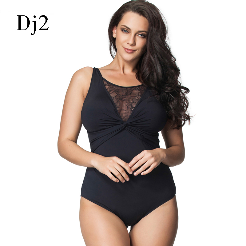 Brand Swimwear Women 2017 One Piece Black Sexy Lace Hollow Out Swimsuit One Piece Thong Push Up Swimwear Plus Size 6XL Monokini plus size grommets one piece swimwear