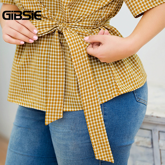 GIBSIE Plus Size Elegant Wrap V-Neck Plaid Shirt Top With Belt Women Short Sleeve Clothing Female Big Size OL Summer Blouse 5