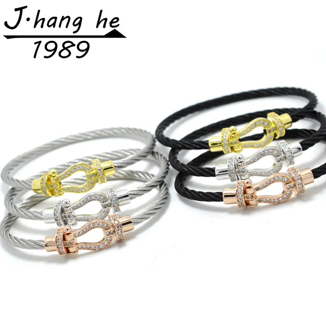 J.K bracelet manchette Male femme love bijoux Crystal Bracelets bangles For Fashion stainless steel Jewelry Men Women bangle