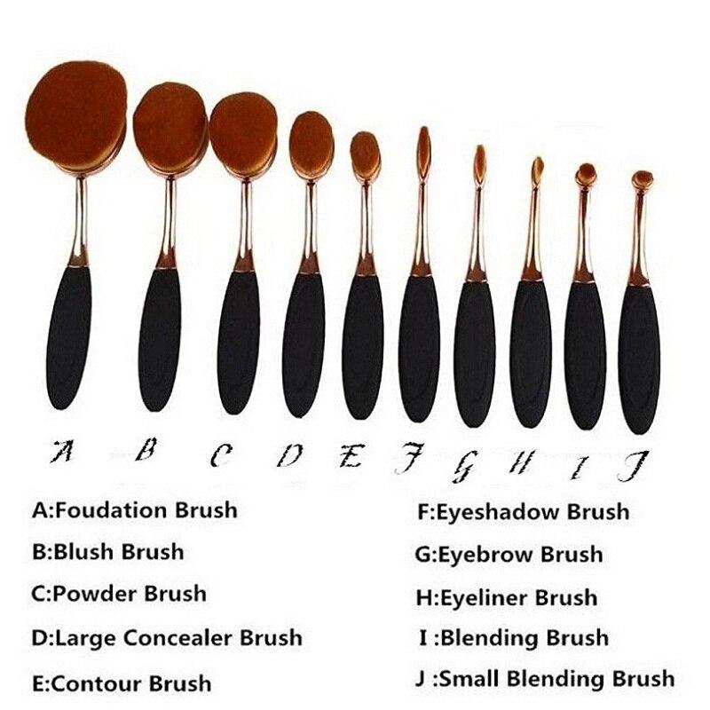 10Pc Set Pro Fashion Gold Oval Tooth brush Eyebrow Face Foundation Podwer Eyeliner Lip Makeup Brushes