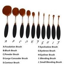 10Pc/Set Pro Fashion Gold Oval Tooth brush Eyebrow Face Foundation Podwer Eyeliner Lip Makeup Brushes Tools Toothbrush Brush Set