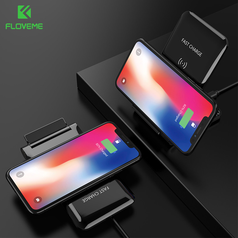 FLOVEME Multifunction 10W Wireless Charger For iPhone X 8Plus Samsung Galaxy S9 S8 Plus Note 8 Qi Wireless Charger Charging Pod